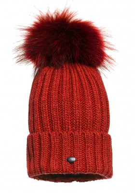 Dámská čepice Goldbergh Naara Beanie (real Fur Raccoon) Red