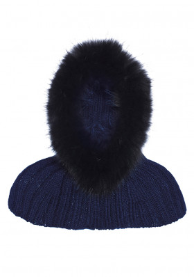 Dámská kapuce Goldbergh Nilla Hood/Col (real Fur Raccoon) Dark Navy