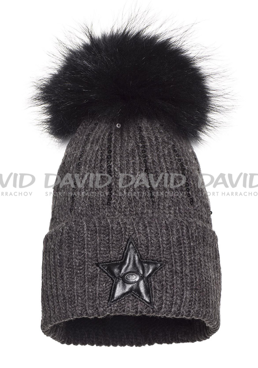 Dámská čepice Goldbergh Lola Beanie (real Fur Raccoon) Dark Grey