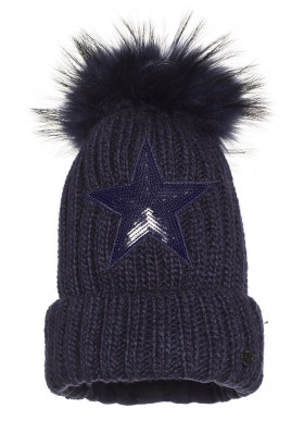 Dámská čepice Goldbergh STARS beanie real raccoon fur DARK NAVY