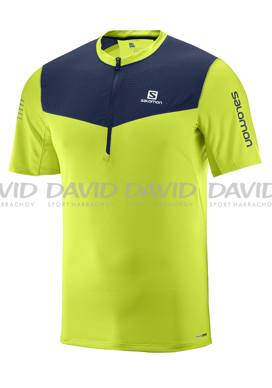 Salomon Fast Wing Hz Ss Tee M Acid Lime/Dress Bl
